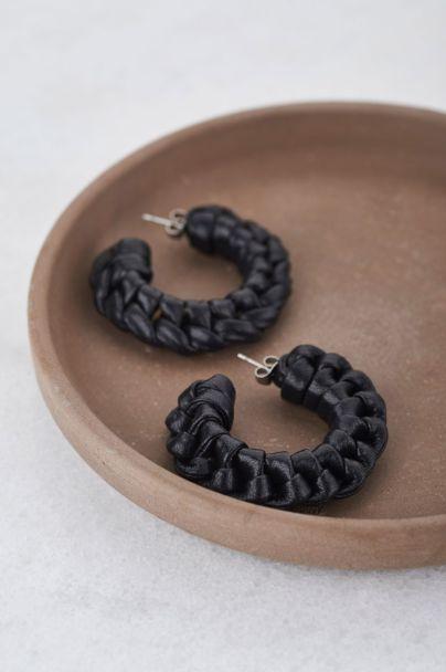 Black leather look hoop earrings