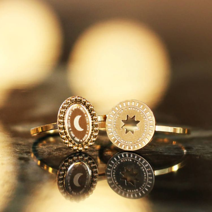 Roestvrijstalen Ring Muntje Ster, Minimalistische Ringen My Jewellery