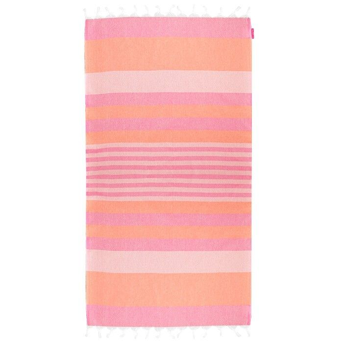 Handdoek strand dun roze wit