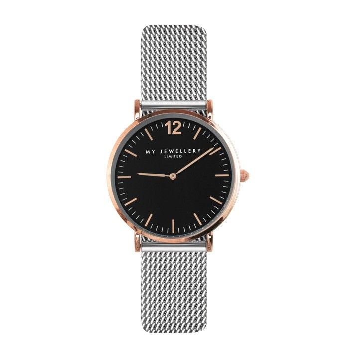 My Jewellery Small Bicolor Watch - Silver/Rose/Black