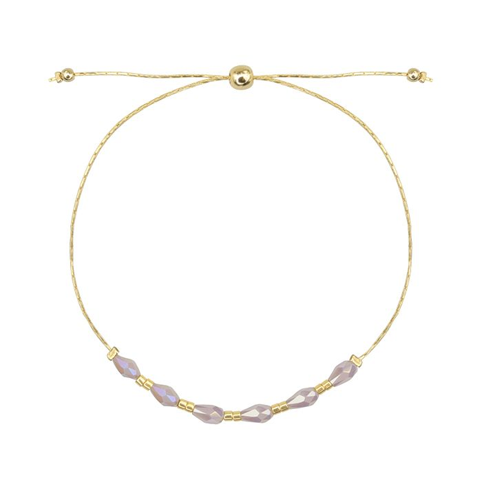 Gouden armband 6 kralen lila, My Jewellery