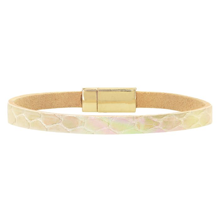 Licht roze leren armband holografisch My Jewellery