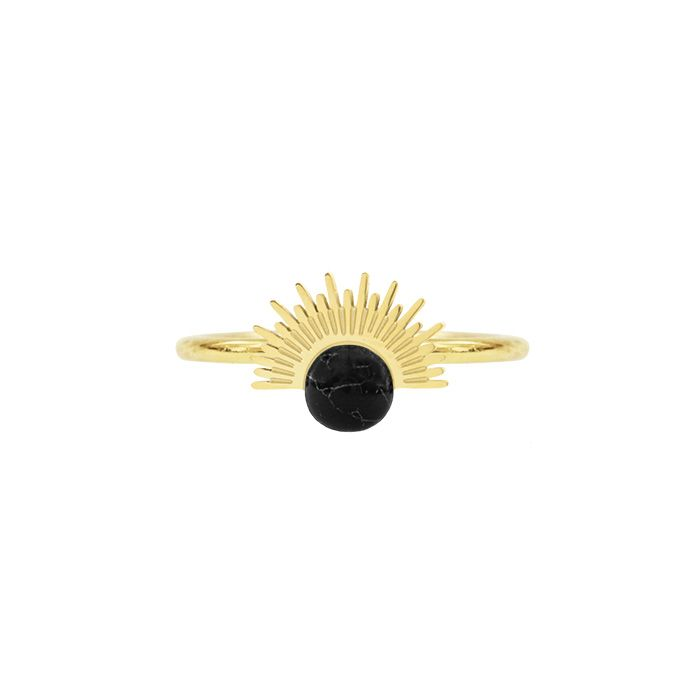 Ring ronde steen staafjes zwart