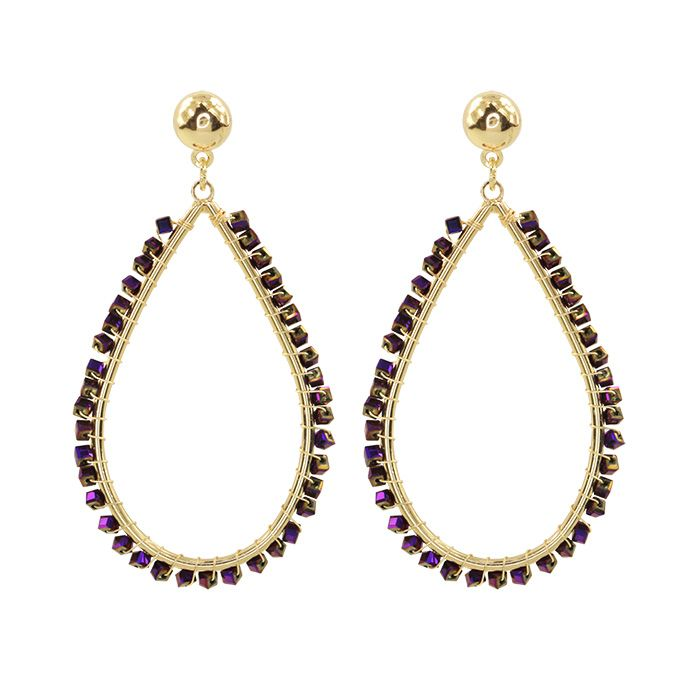 Purple Crystal Teardrop Earring
