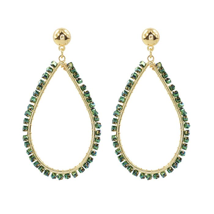Crystal Teardrop Earring Green