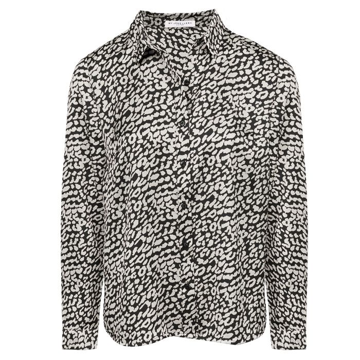 Zwarte blouse met witte luipaardprint, blouse My Jewellery