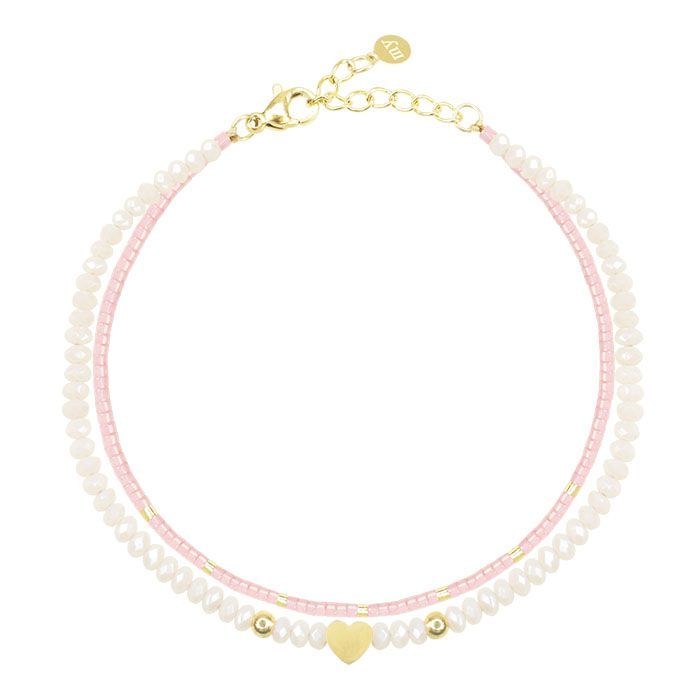 Roze Dubbele Armband Hart, Kralenarmband My Jewellery
