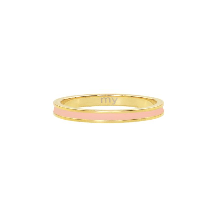 peach&goud basic ring, minimalistische ring My Jewellery