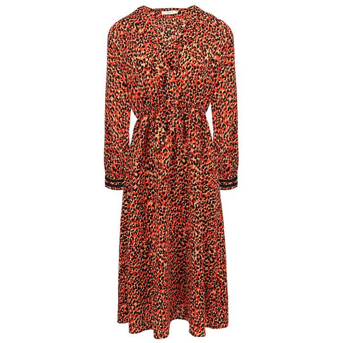 Rode midi jurk luipaard print, dierenprint jurk My Jewellery