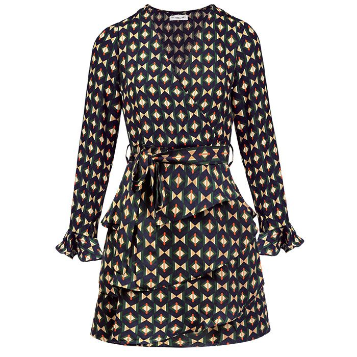 Donkerblauwe jurk met geometrische print My Jewellery