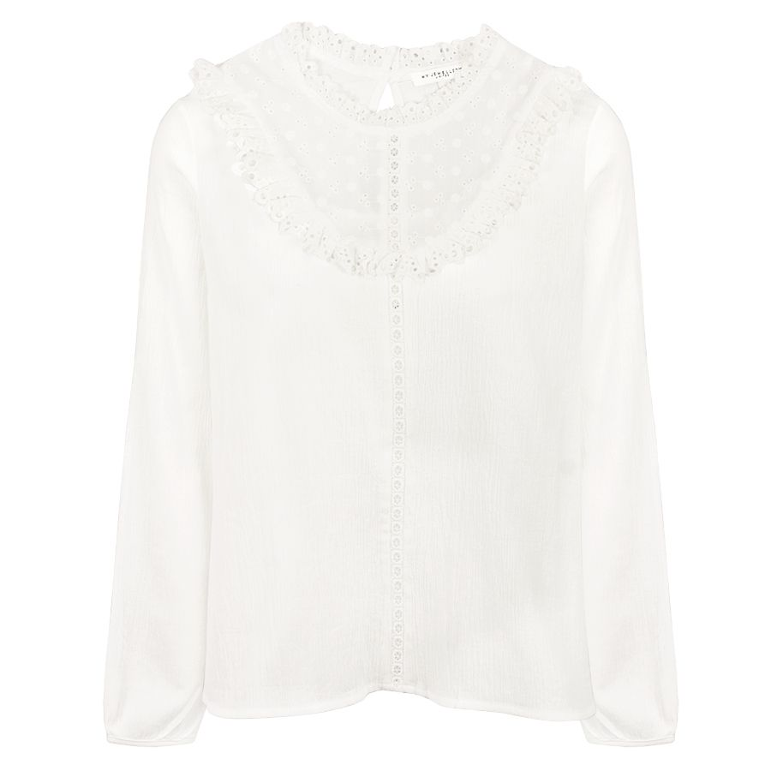 Witte blouse met ruffles, bohemian top My Jewellery