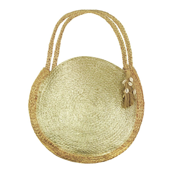 Gouden jute tas rond, strandtas My Jewellery