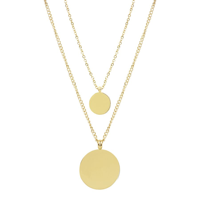 Dubbele ketting munten glad, minimalistische ketting My Jewellery