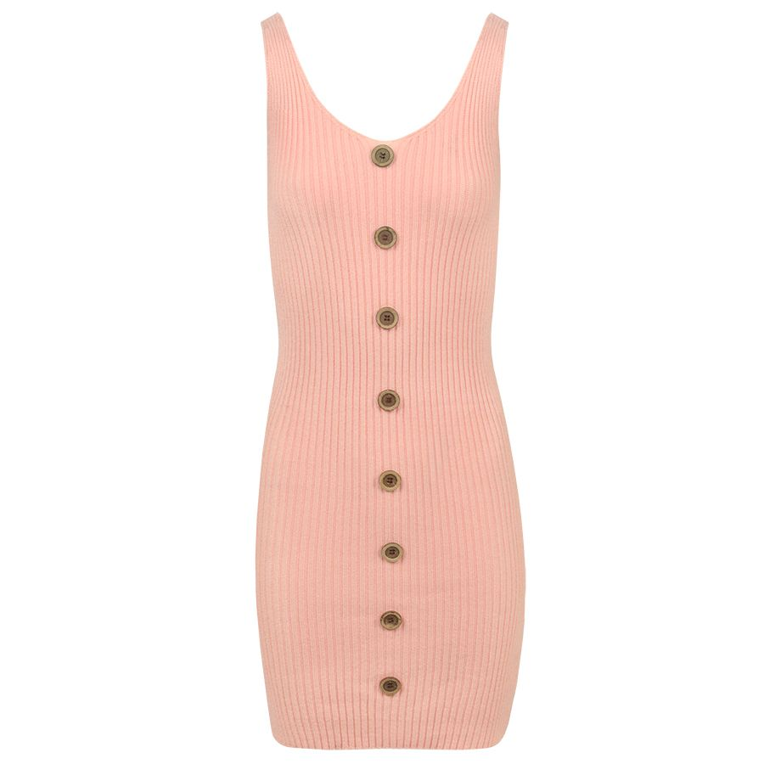 Roze gebreide jurk met knopen, bodycon jurk My Jewellery