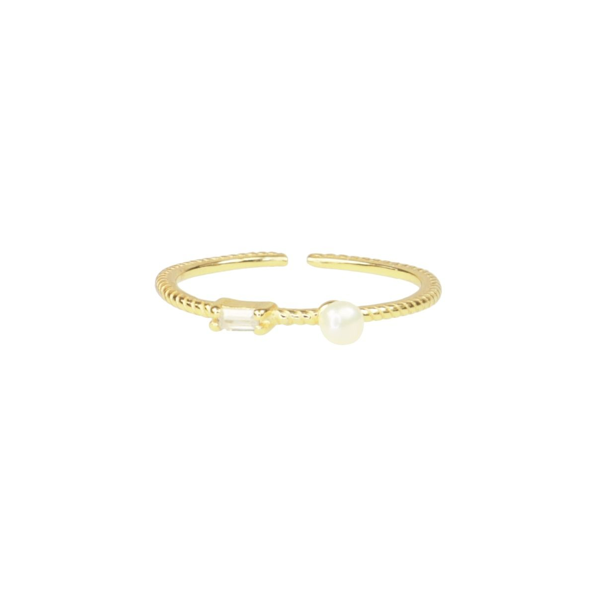 Ring strass & parel, minimalistische ring My Jewellery