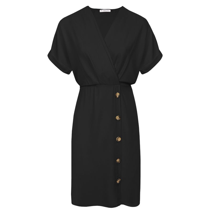 Zwarte midi jurk met knopen