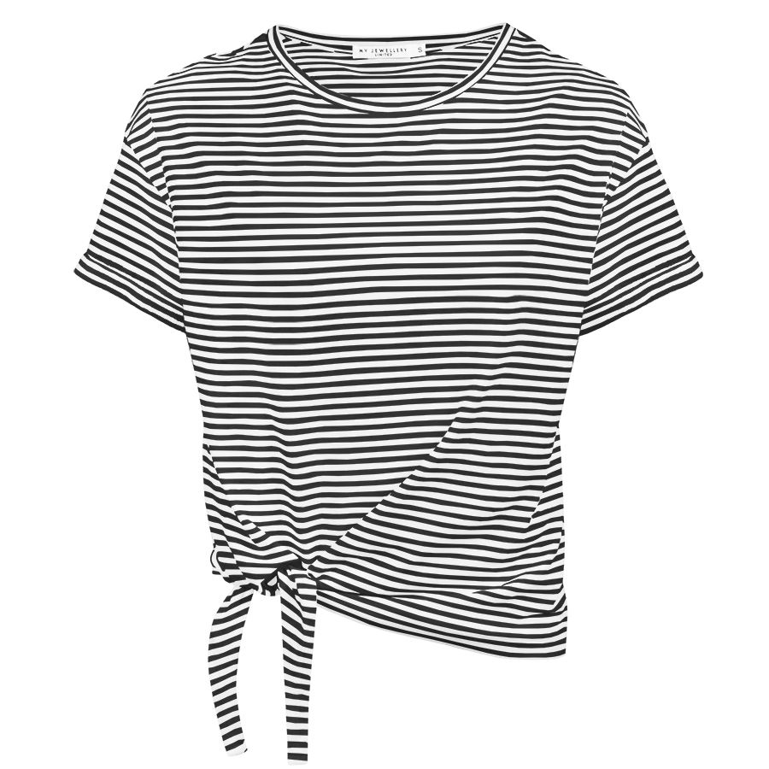19af9dde848475 Zwart gestreept shirt met knoop, t-shirt My Jewellery