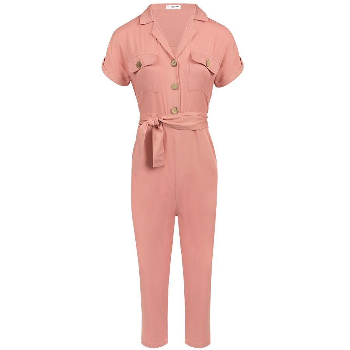 Roze Overhemd.Roze Overhemd Jumpsuit Jumpsuit Met Riem