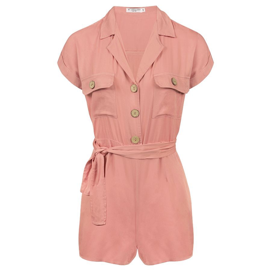 Roze overhemd playsuit, roze playsuit My Jewellery