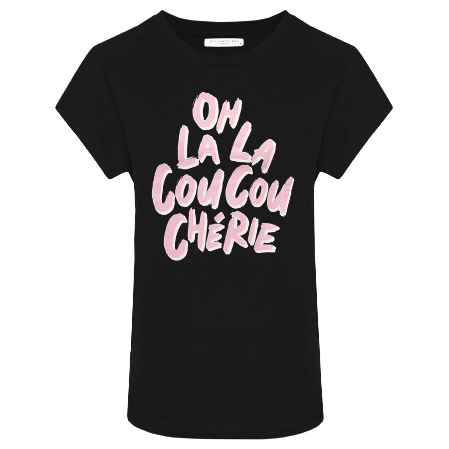 Zwart boyfriend shirt oh la la, oversized t-shirt My Jewellery