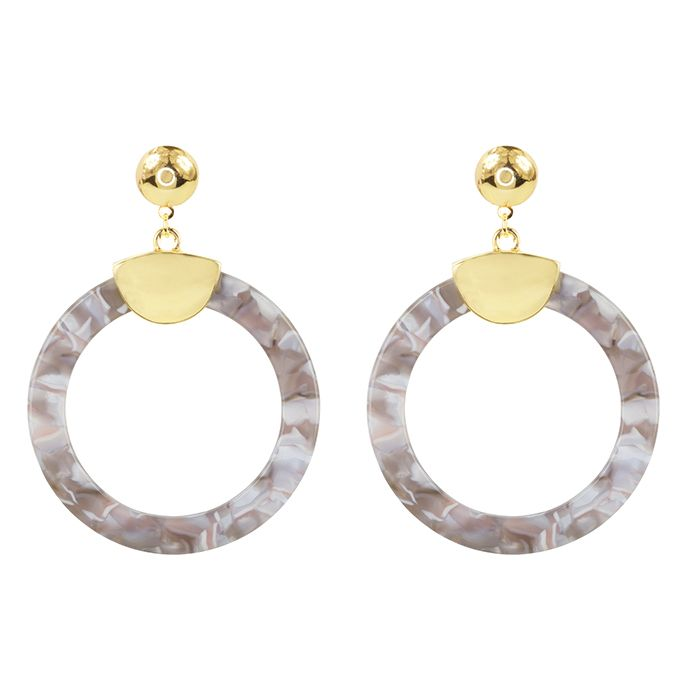 Grijze ronde oorhangers My Jewellery