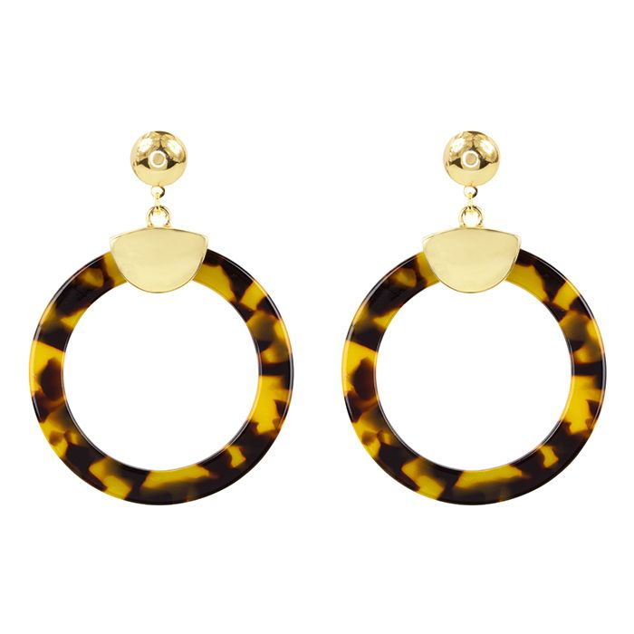 Bruine ronde oorhangers My Jewellery