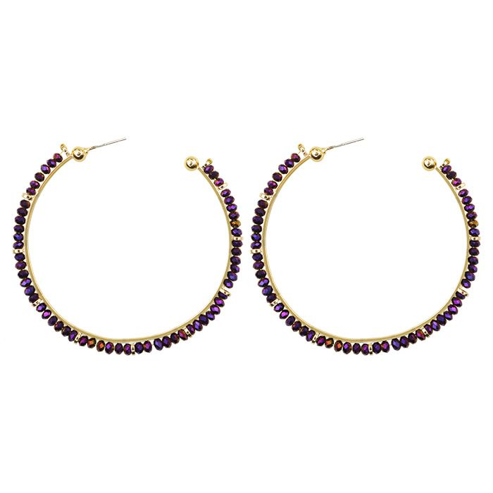 Gouden oorringen paarse kraaltjes My Jewellery