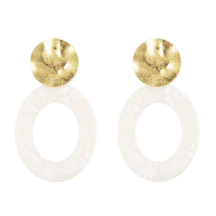Witte ovale oorhangers My Jewellery