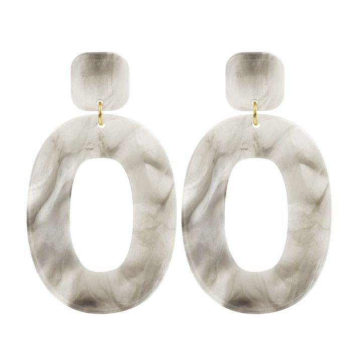 Grijze statement oorbellen ovaal, oorhangers My Jewellery