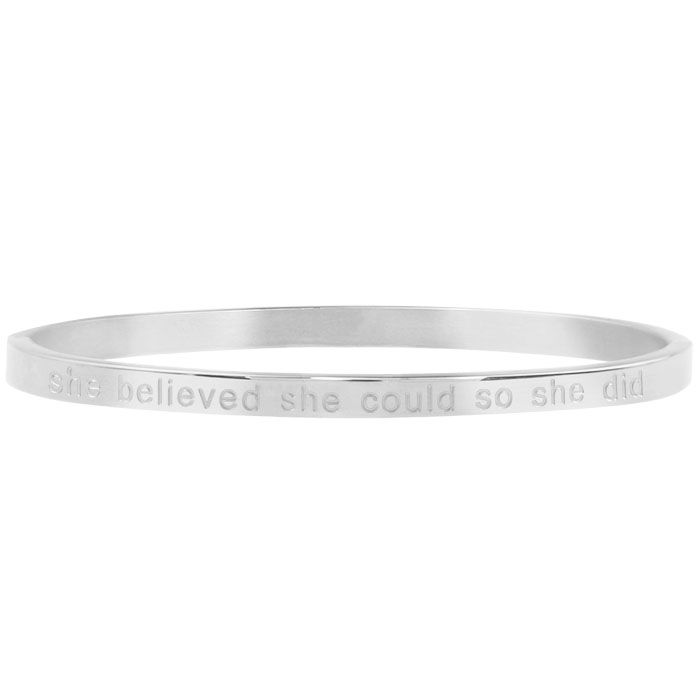 She Believed She Could So She Did Bangle - Silver