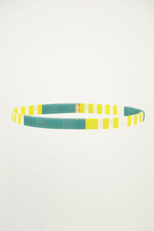 Gele armband met platte kralen My Jewellery