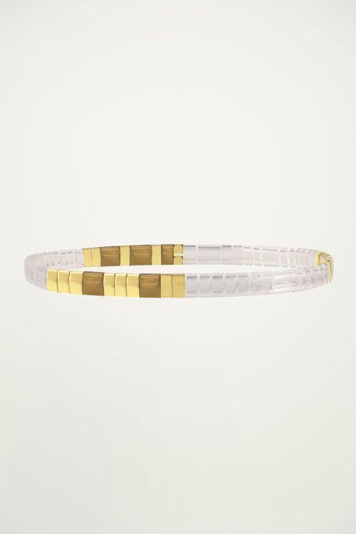 Gouden armband met platte kralen My Jewellery
