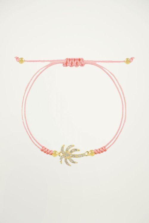 Armband strass palmboom, touwarmbandje