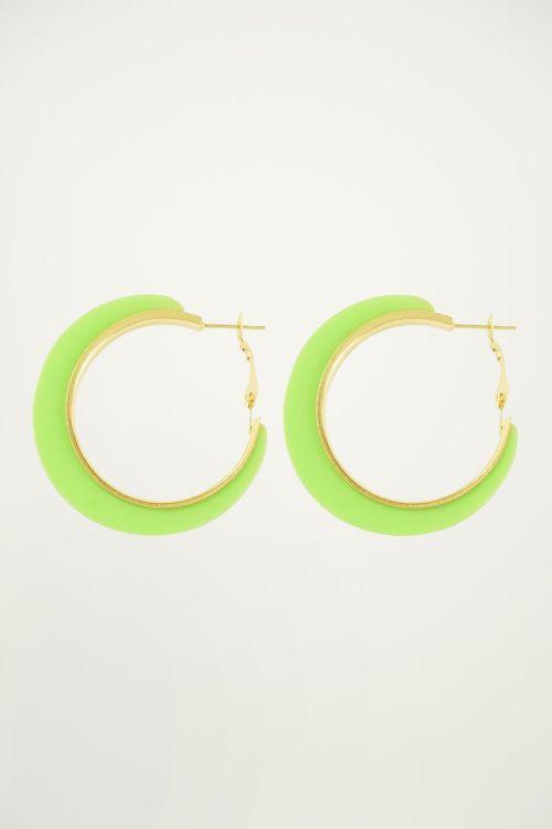 Neon groene oorringen, statement oorbellen