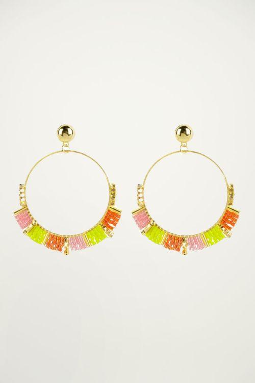 Gele oorbellen kralen, statement oorbellen My Jewellery