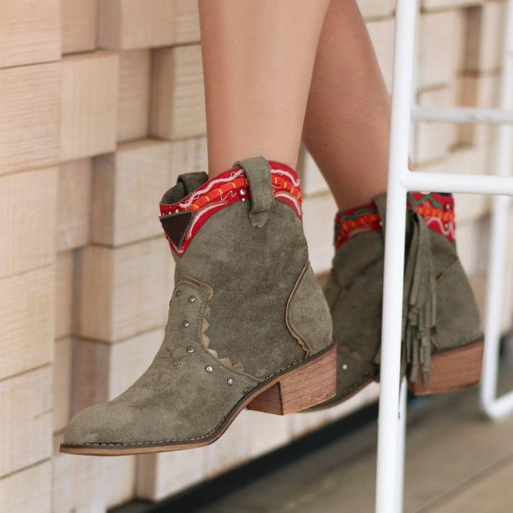 Boots Ibiza franjes kaki
