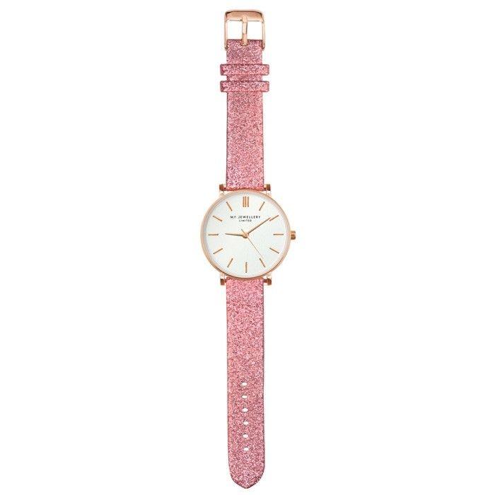 roze glitter horloge