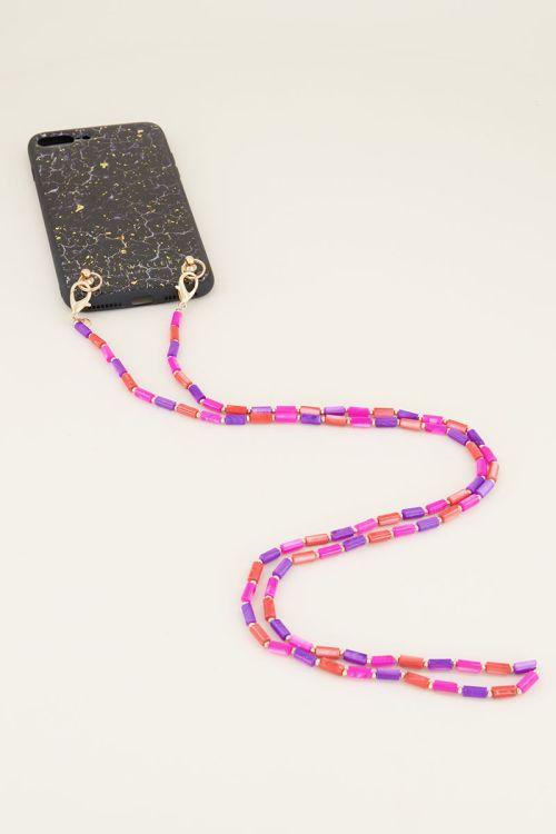 Telefoonkoord roze kralen My Jewellery