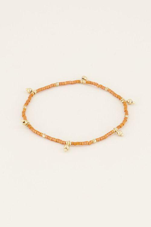 Armband met oranje kralen | Kralen armband bij My Jewellery