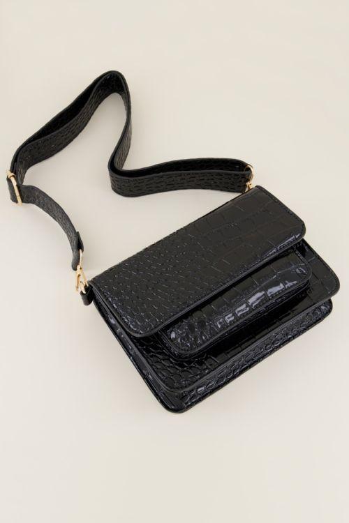 Zwarte schoudertas croco print   Schoudertassen   My Jewellery