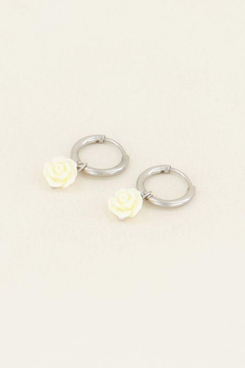 Witte oorbellen roosjes | My Jewellery