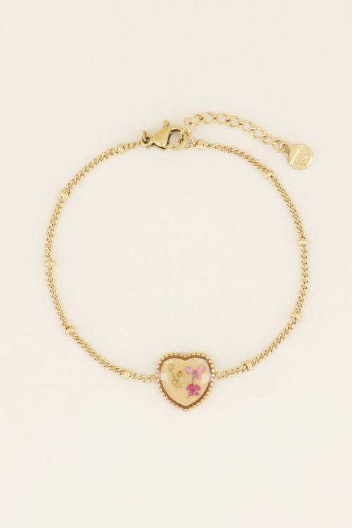 Armband droogbloemen hartje | My Jewellery