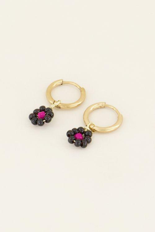 Oorbellen zwarte bloemetjes | Oorbellen | My Jewellery