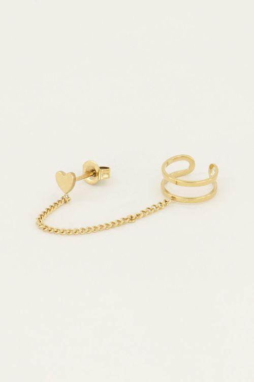 Stud hartje met ear cuff | My Jewellery