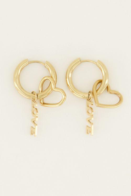 Oorringen bedels hartje & love | My Jewellery
