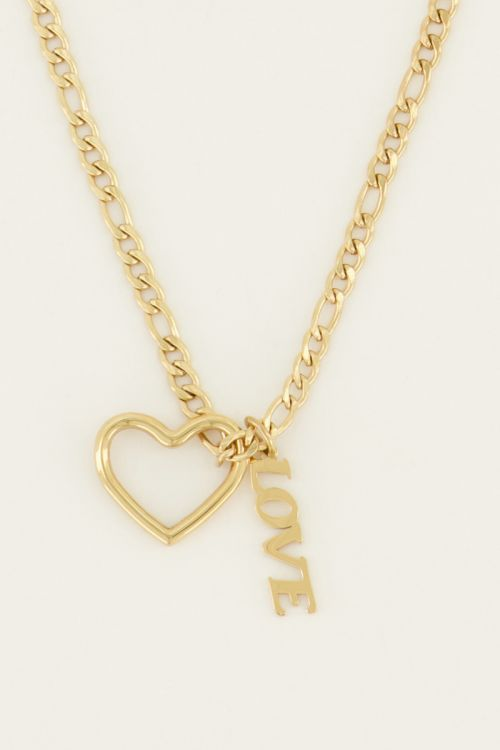 Ketting bedels hartje & love   My Jewellery