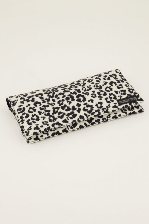 Beige face mask holder with panther print   My Jewellery