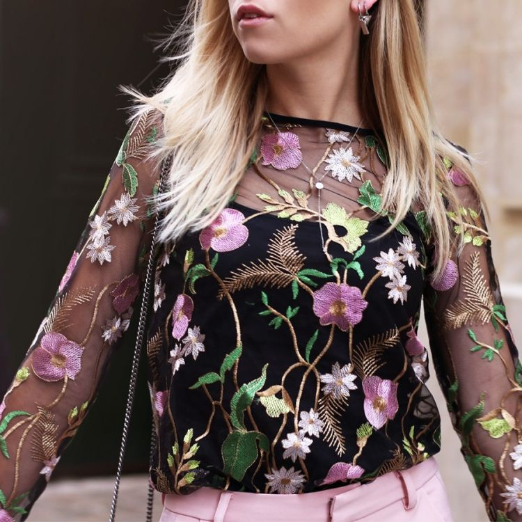 My Jewellery mesh top bloemenprint zwart
