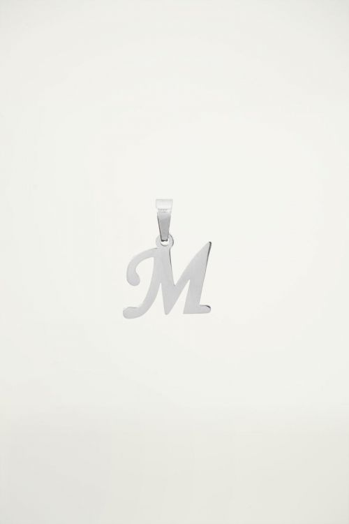 Silver initial charm, Pendant necklace