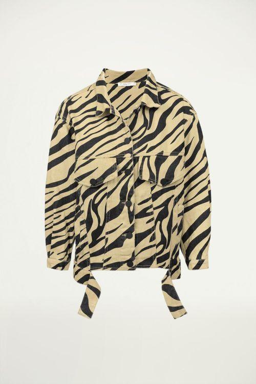 Beige oversized spijkerjas zebraprint, denim jacket